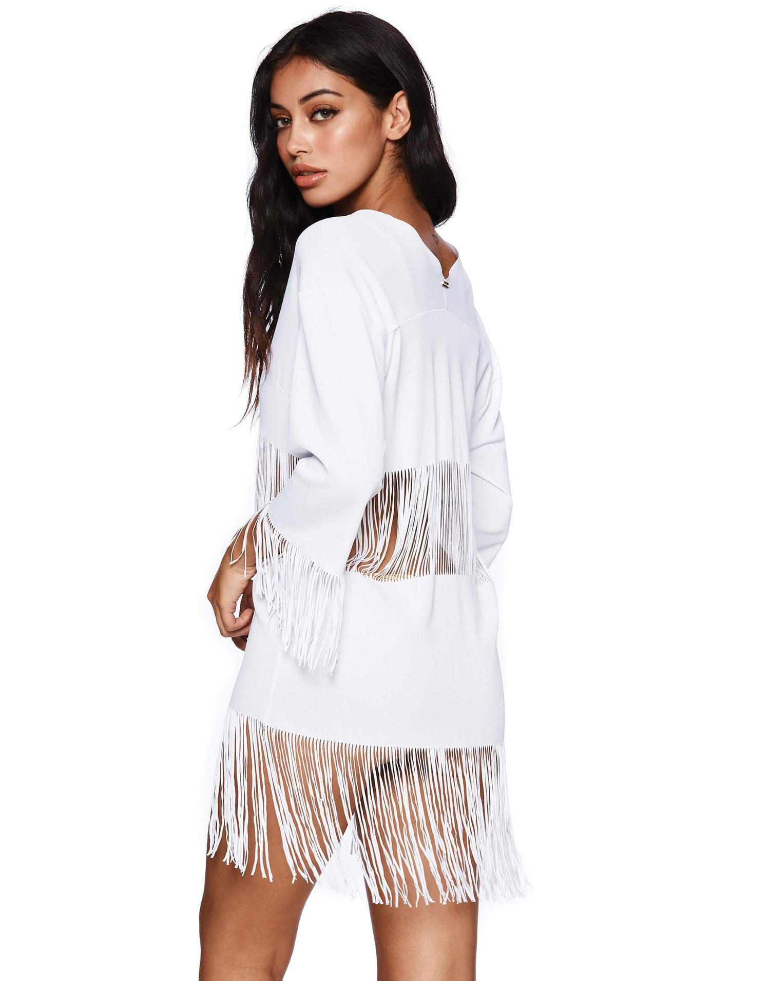 White Indian Summer Tunic Bikini Cover Up - side view
