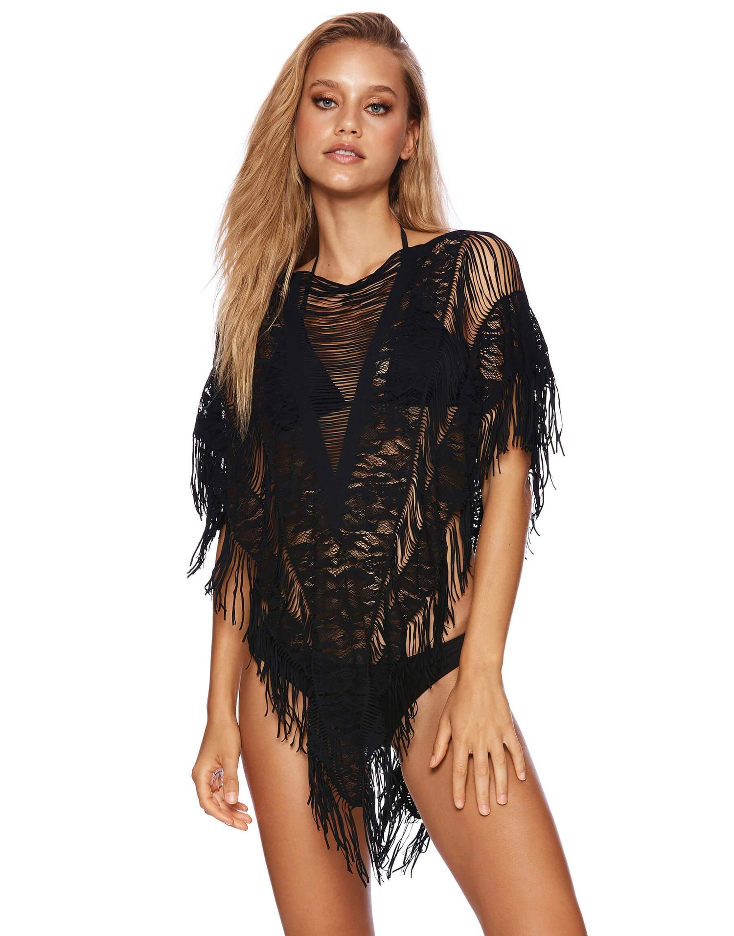 Black Fringe Indian Summer Lace Poncho - front view