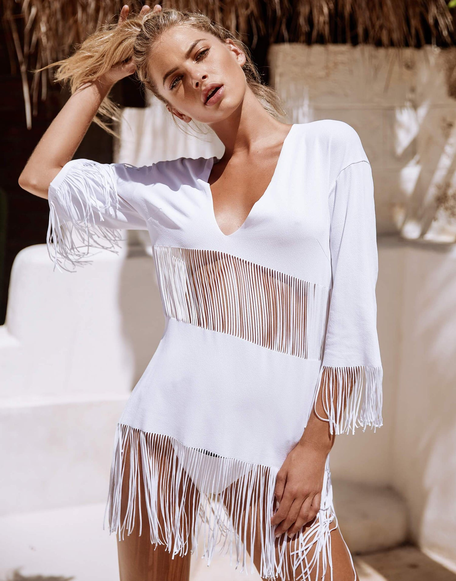 White Indian Summer Tunic Bikini Cover Up - front view