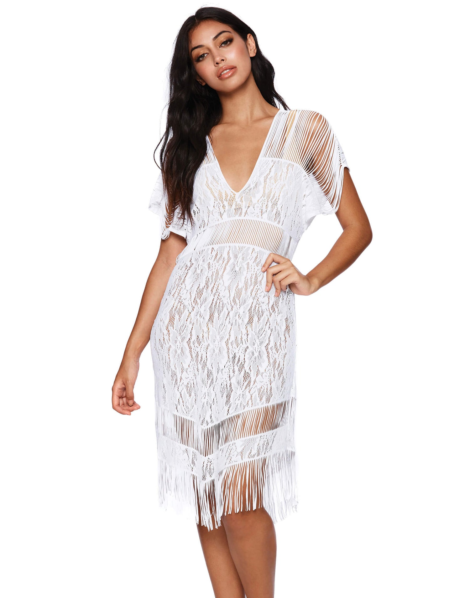 White Indian Summer Lace Dress Front View