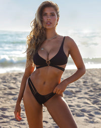Indy Bralette Bikini Top in Black with Strappy Details - Alternate Front View