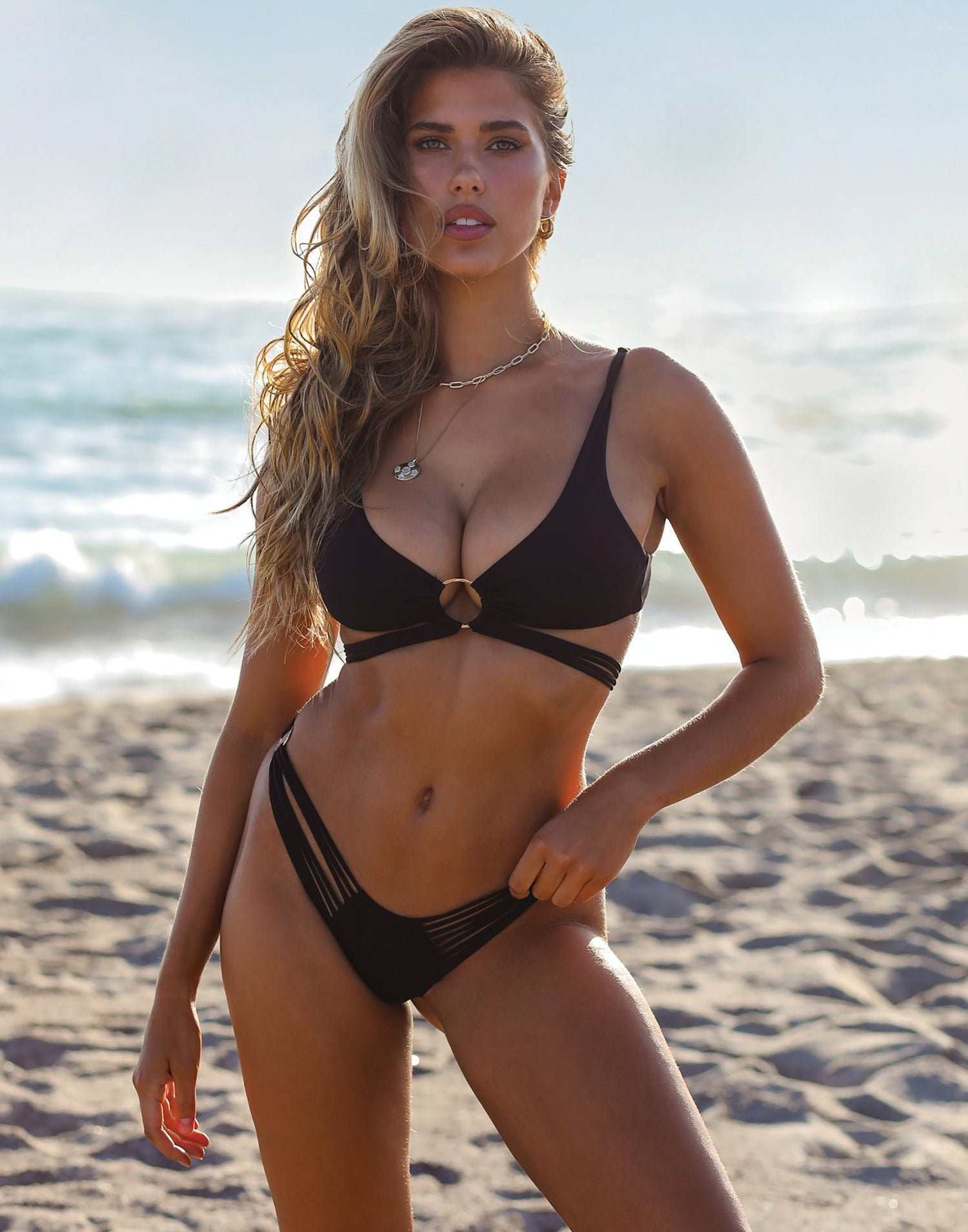 Indy Micro Tango Bikini Bottom in Black with Strappy Details - Alternate Front View