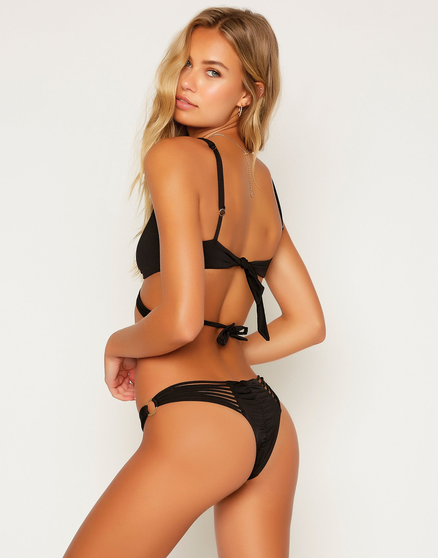 Indy Micro Tango Bikini Bottom in Black with Strappy Details - Back View