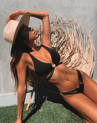 Indy Micro Tango Bikini Bottom in Black with Strappy Details - Styled View