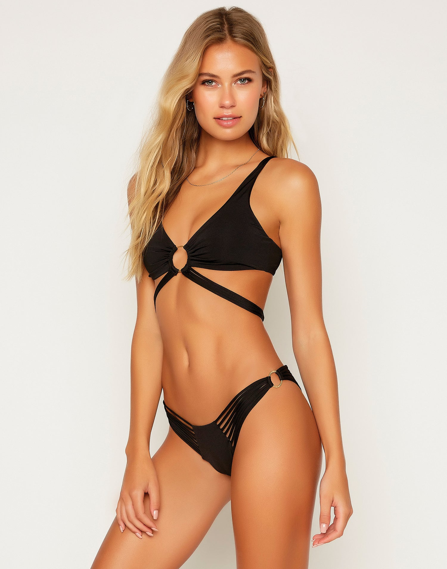Indy Micro Tango Bikini Bottom in Black with Strappy Details - Angled View