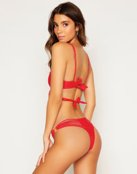 Indy Micro Tango Bikini Bottom in Red with Strappy Details - Back View