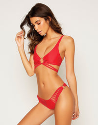 Indy Micro Tango Bikini Bottom in Red with Strappy Details - Angled View