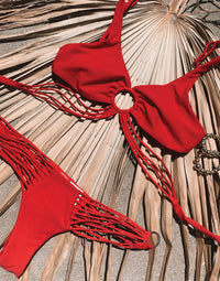 Indy Micro Tango Bikini Bottom in Red with Strappy Details - Product View