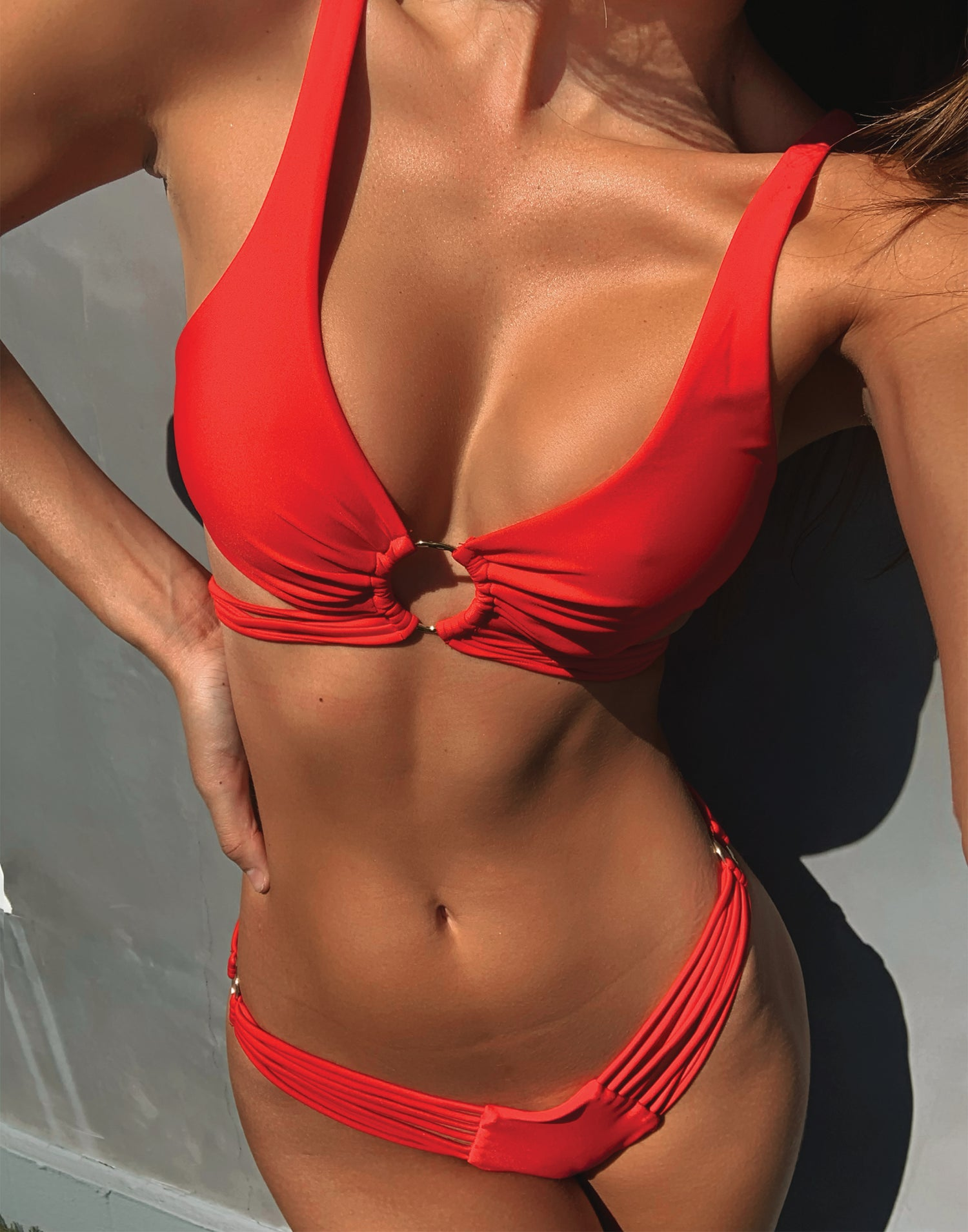 Indy Bralette Bikini Top in Red with Strappy Details - Detail View