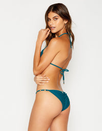 Ireland Key Hold Triangle Bikini Top in Teal - side view
