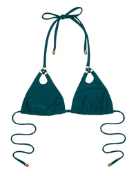 Ireland Key Hold Triangle Bikini Top in Teal - product view