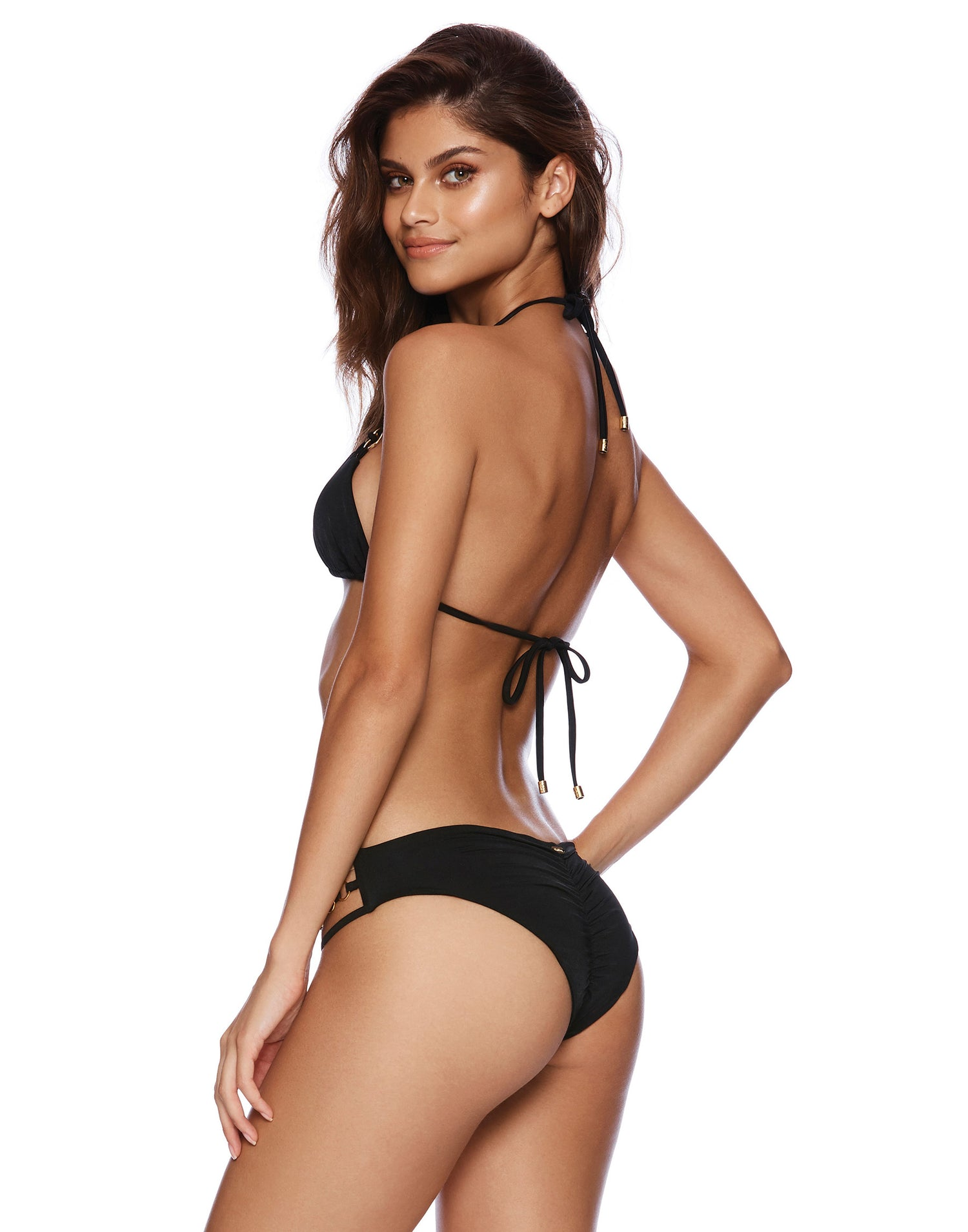 Black Ireland Triple Strap Skimpy Bikini Bottom Back View