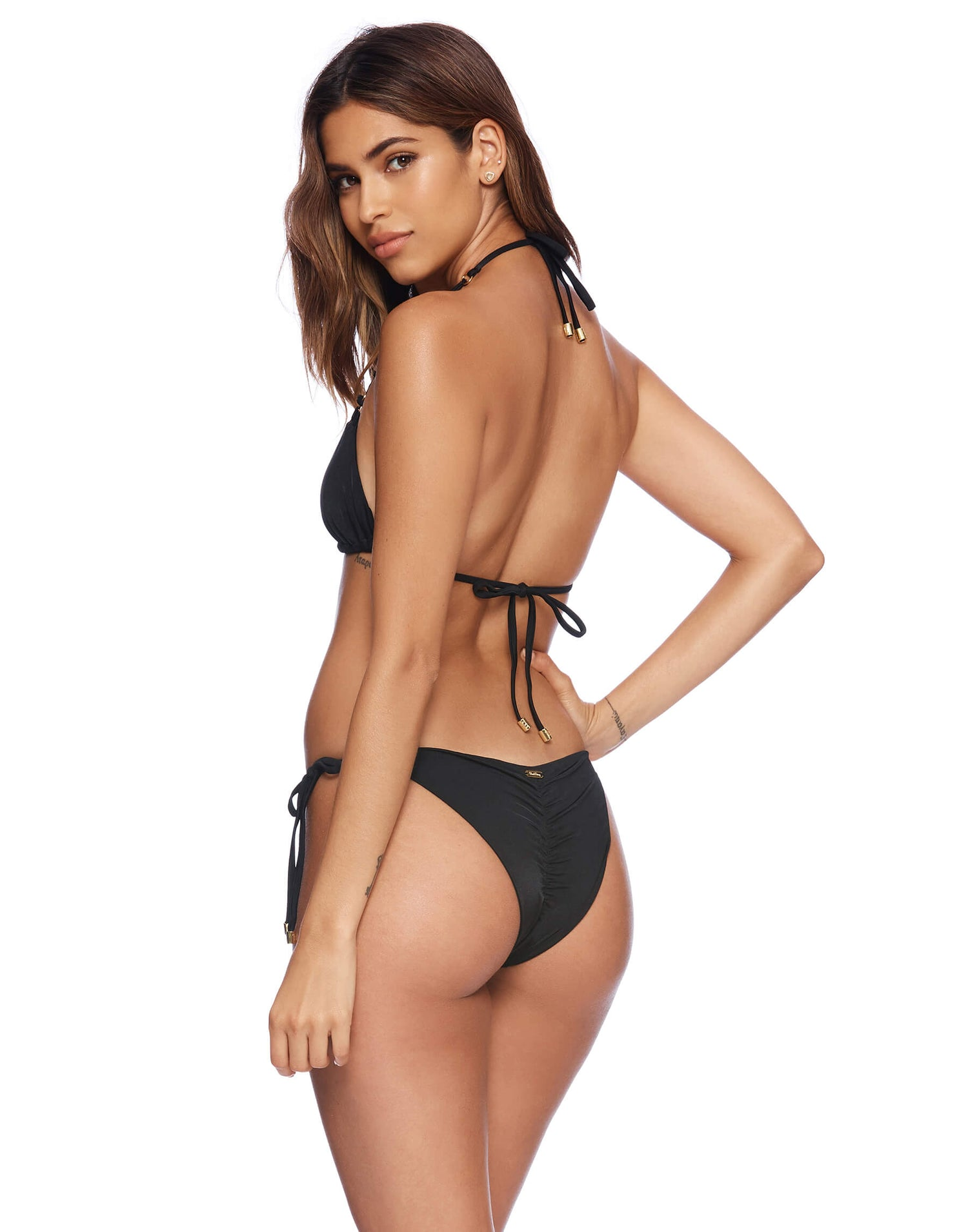 Black Ireland Tie Side Bikini Bottom Back View