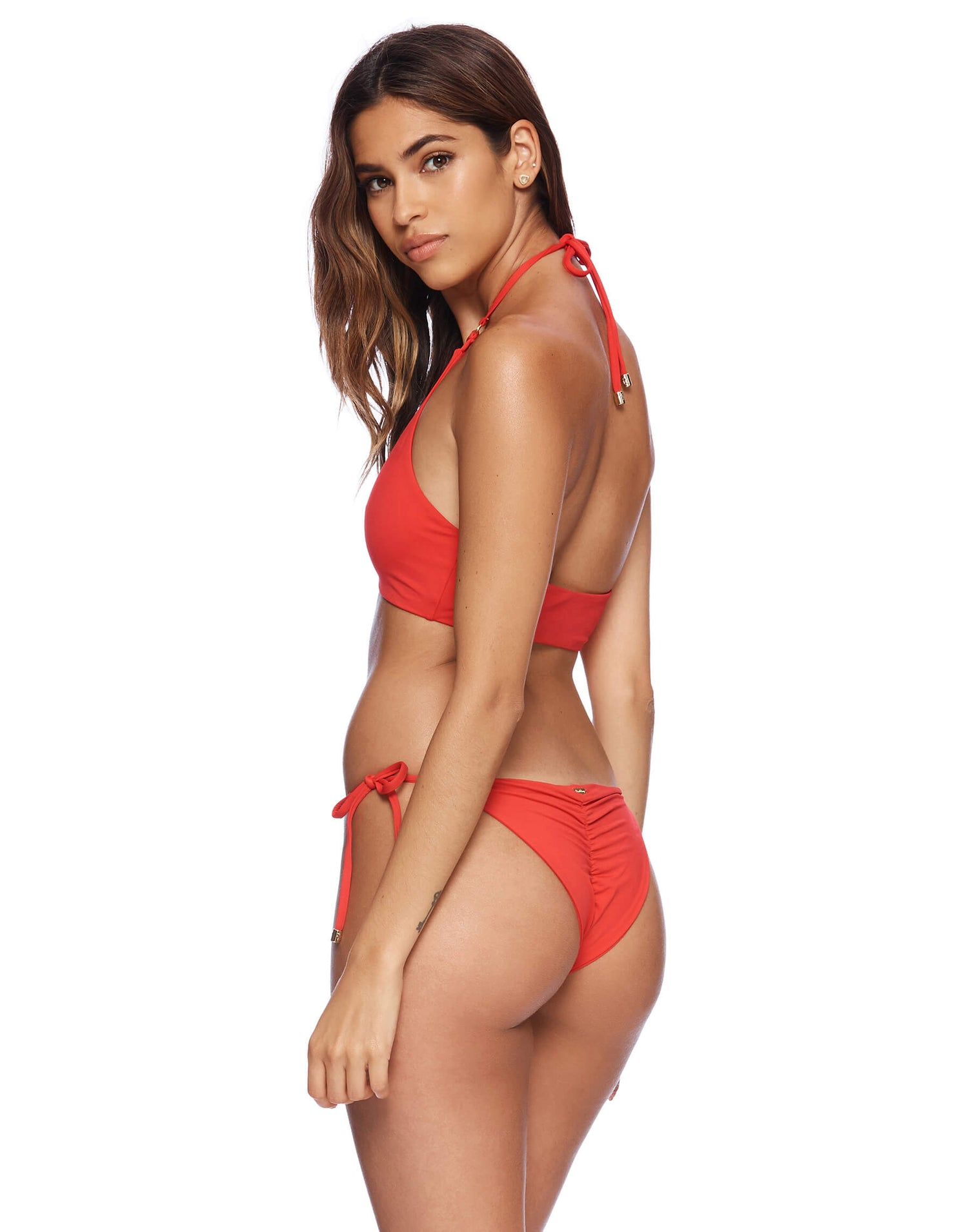Ireland High Neck Top in Red Back View