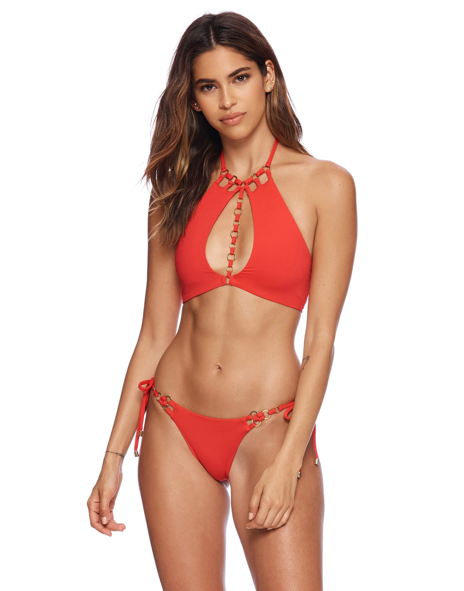 red high neck bikini top