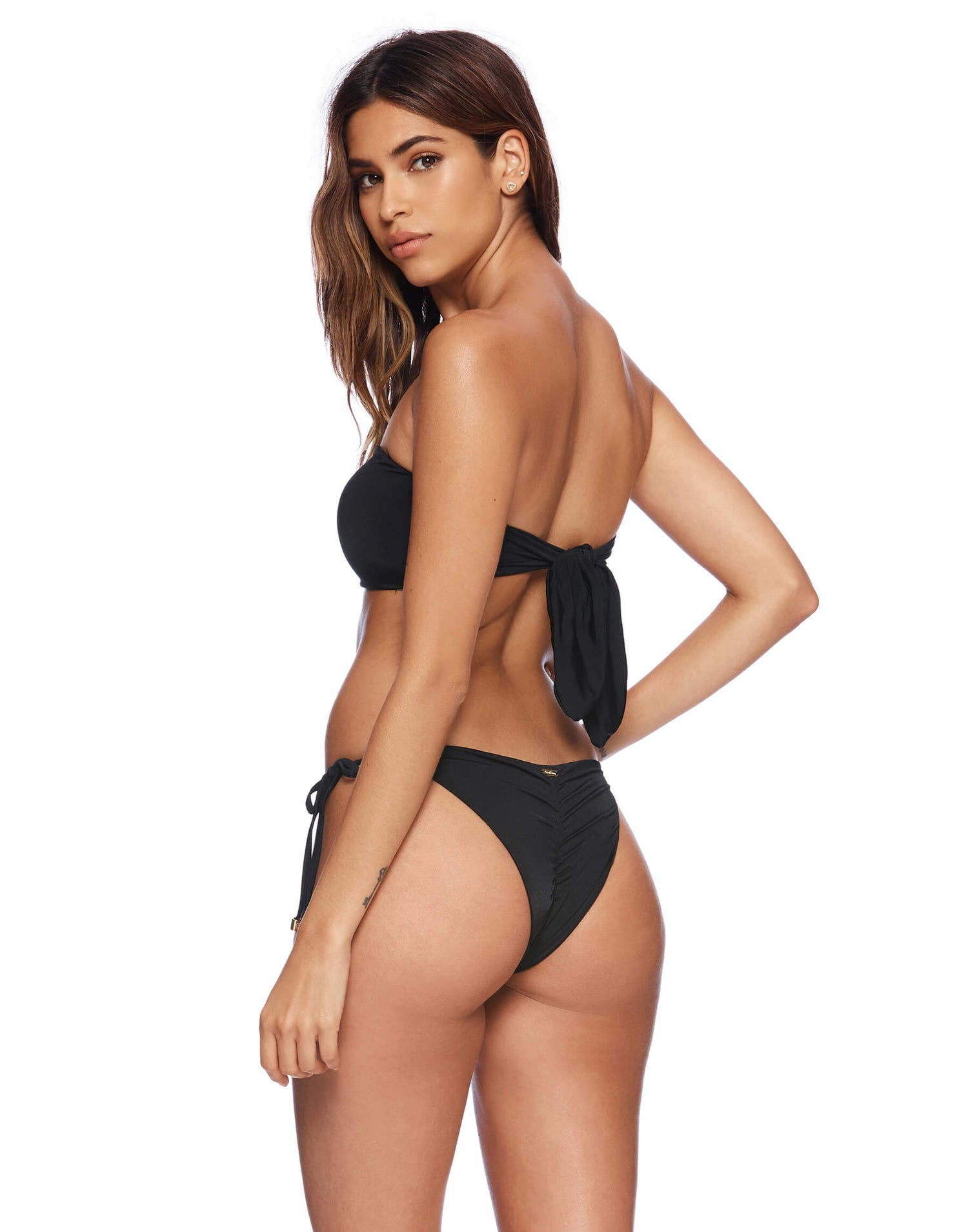 Ireland Bandeau Tie Back Top in Black Back View