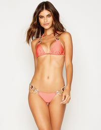 Jazmin Skimpy Bikini Bottom in Rose Pink with Hardware - front view