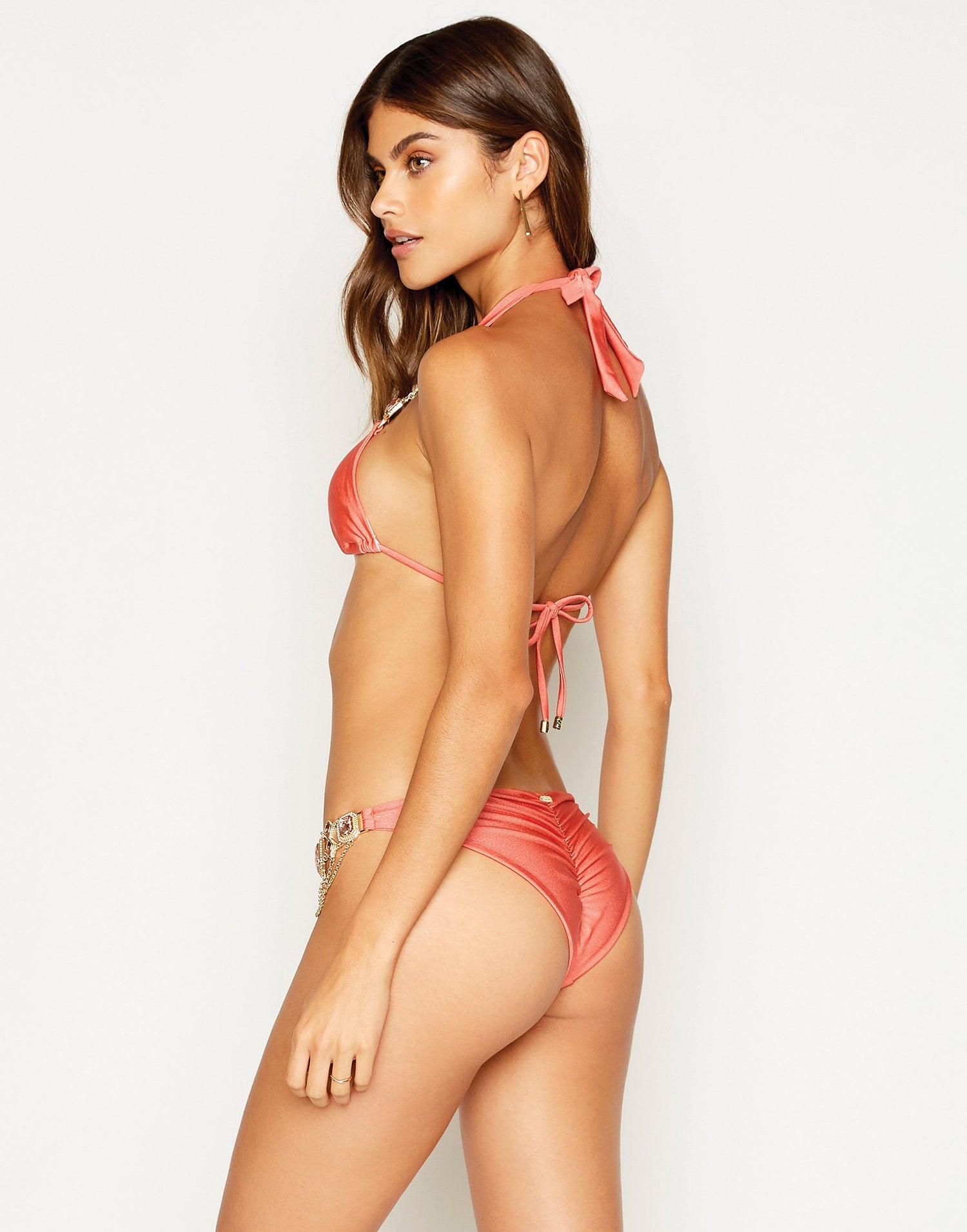Jazmin Skimpy Bikini Bottom in Rose Pink with Hardware - back view