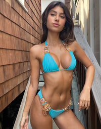 Jazmin Skimpy Bikini Bottom in Sky Blue with Rhinestone Hardware - Alternate Front View