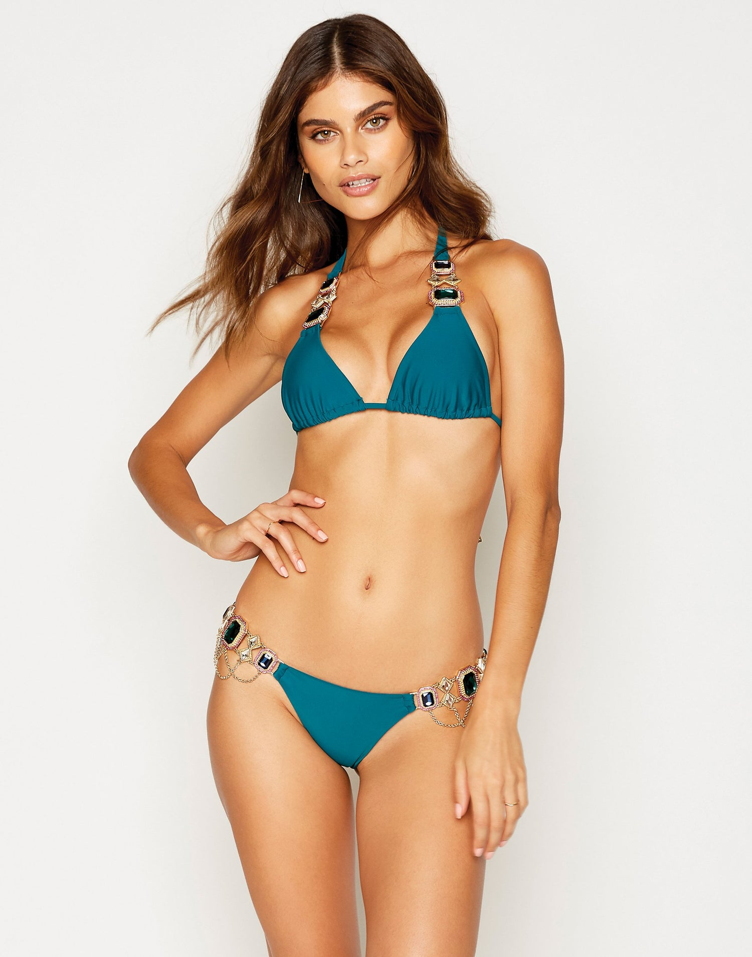Jazmin Halter Bikini Top in Teal with Hardware - front view
