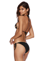 Jolie Tie Side Bikini Bottom in Black - Back View
