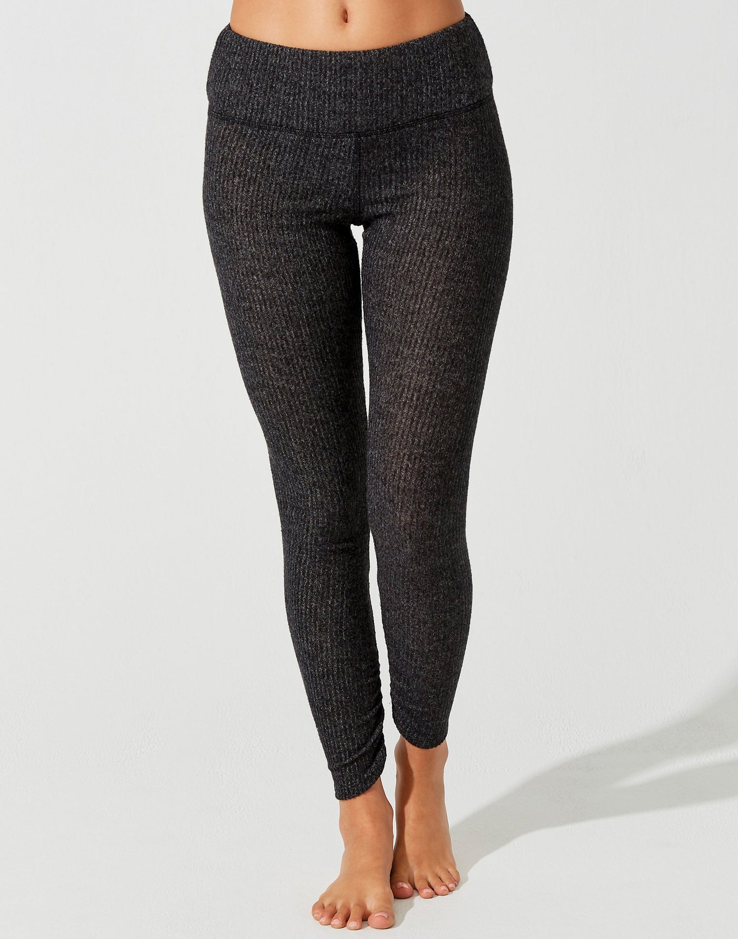 Josie Legging in Black Rib with Ruching at the Bottom Leg - alternate front view