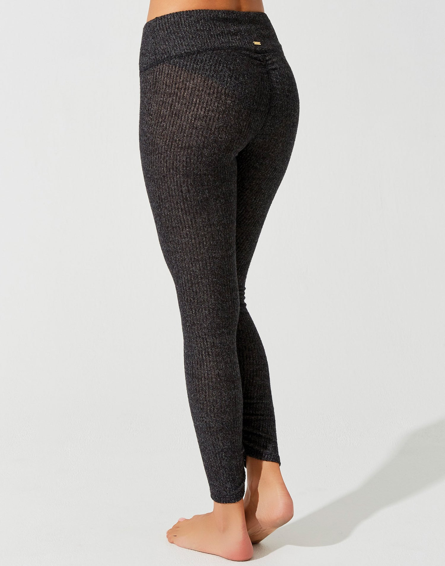 Josie Legging in Black Rib with Ruching at the Bottom Leg - alternate back view