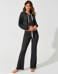 Josie Pant in Black Rib with Tie Closure - front view
