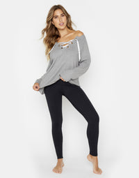 Josie Sweatshirt in Heather Gray with Lace Up Detail - front view