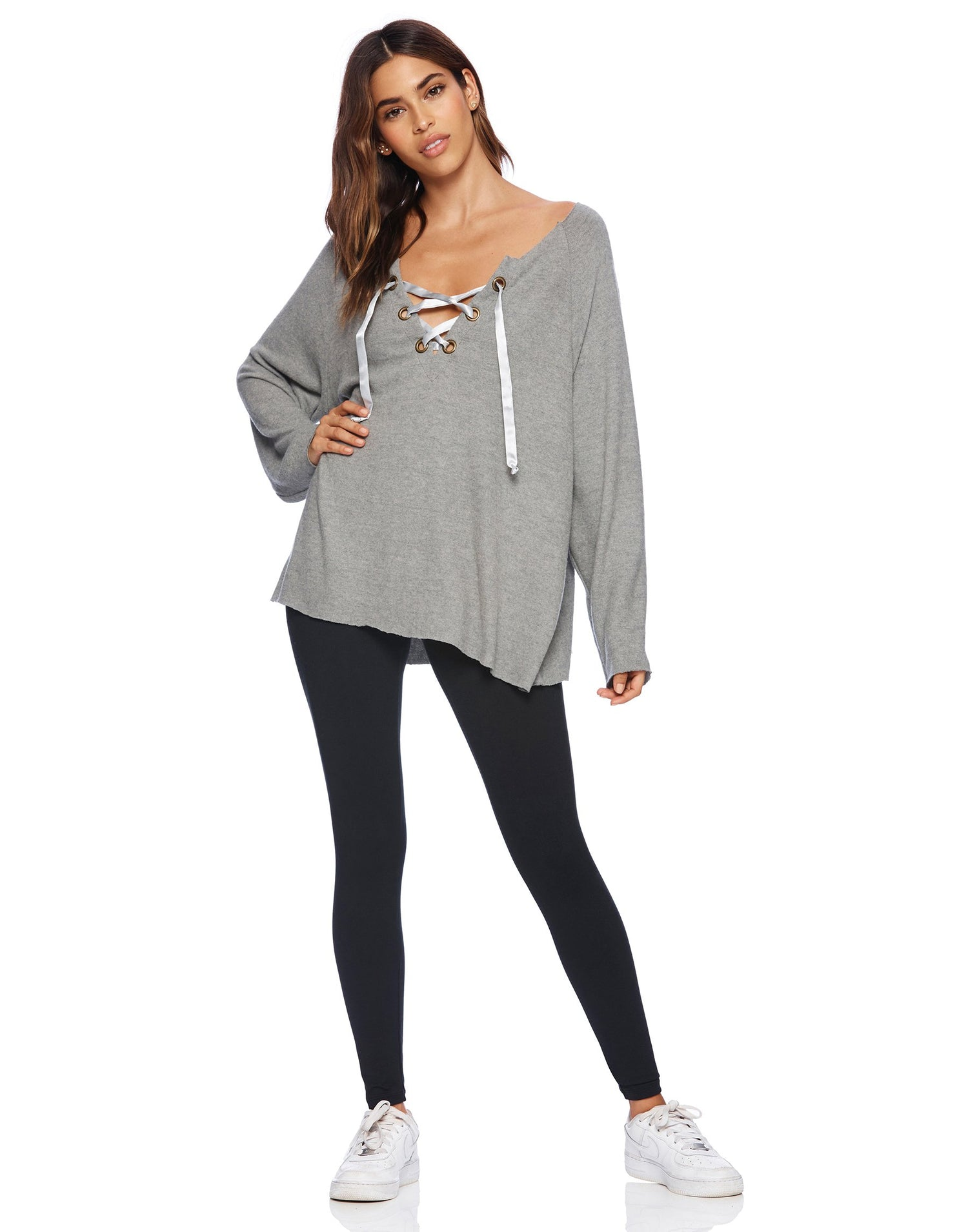 Josie Sweatshirt in Heather Gray with Lace Up Detail - alternate front view