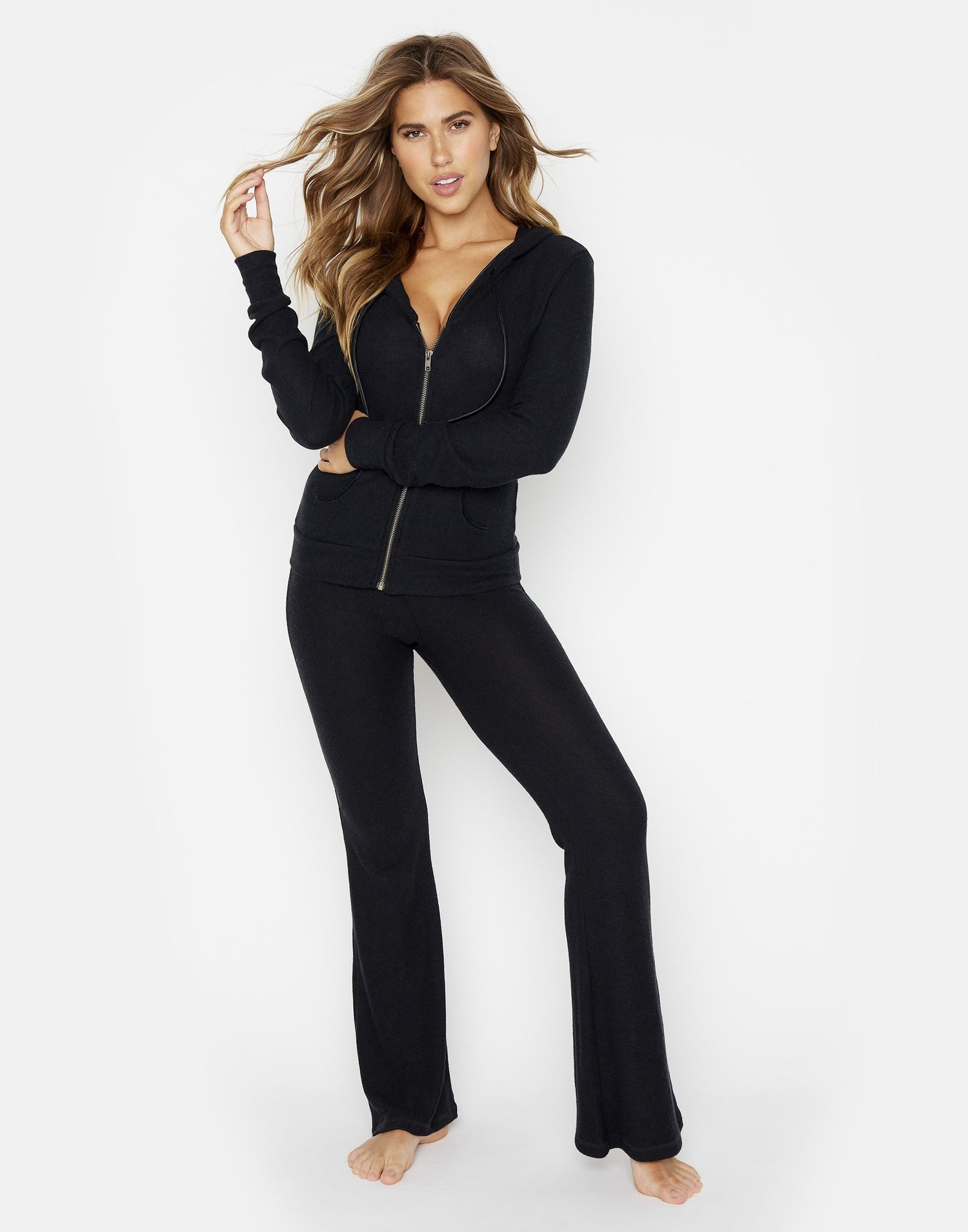 Josie Pant in Black with Tie Closure - alternate front view