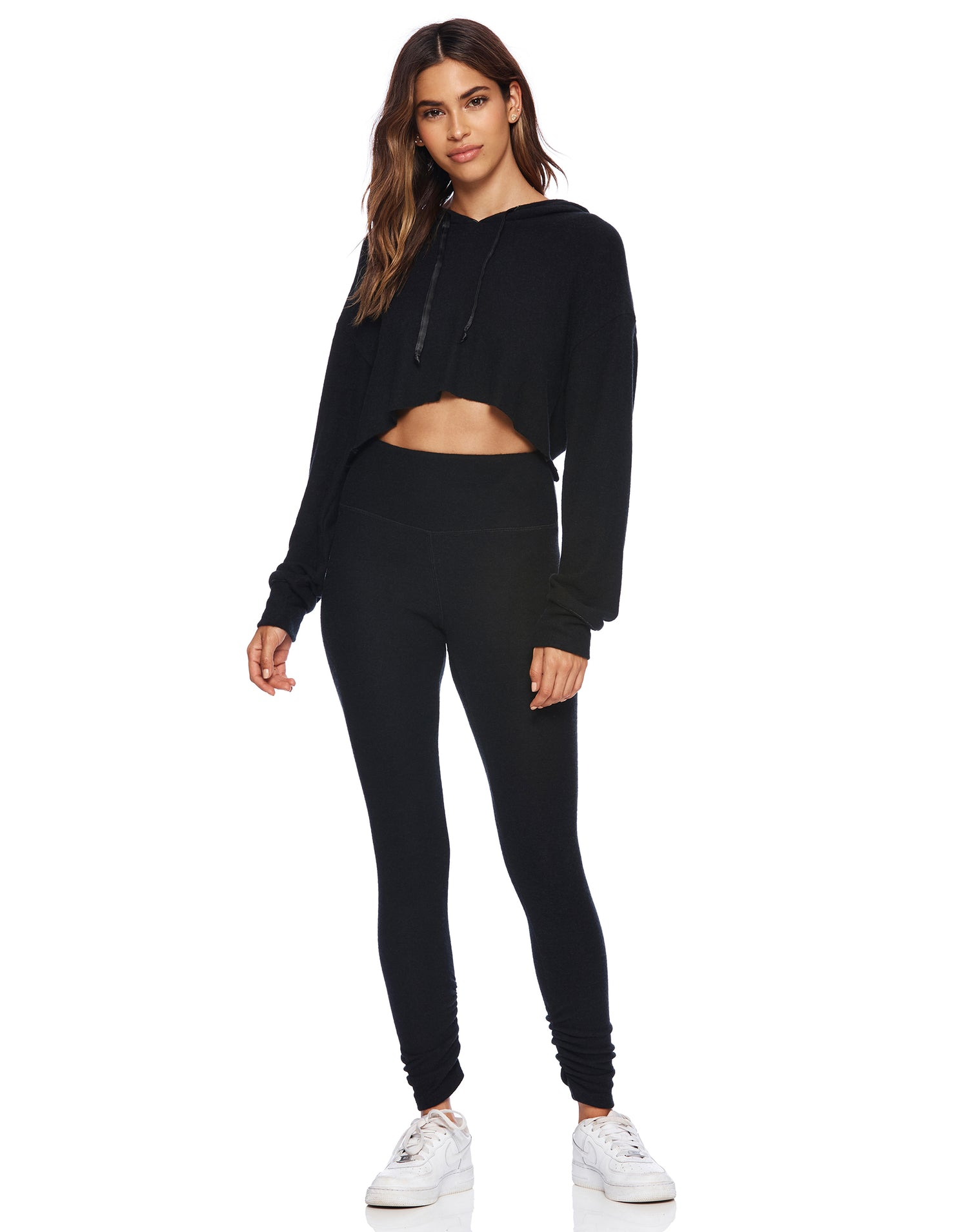 Josie Crop Hoodie in Black - alternate front view
