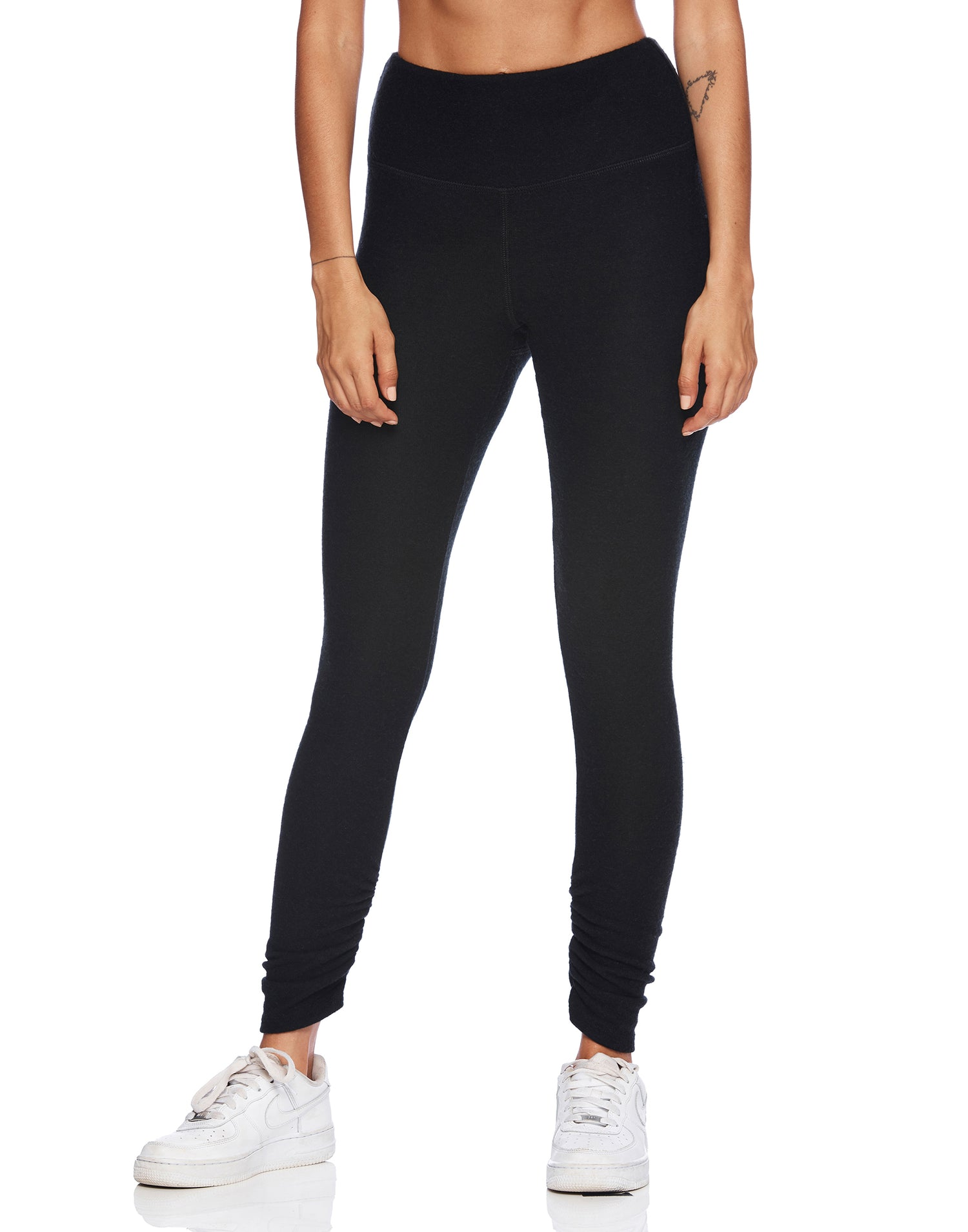 Josie Legging in Black with Ruching at the Bottom Leg - alternate front view