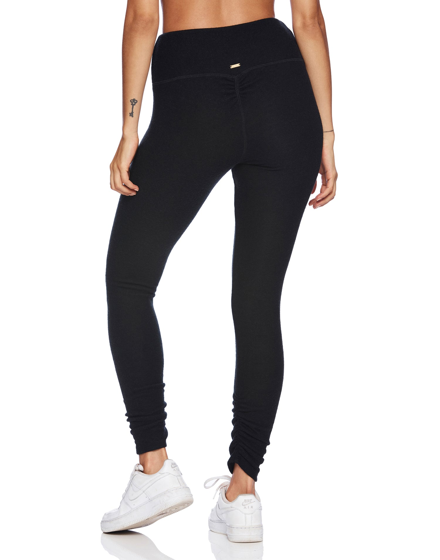 Josie Legging in Black with Ruching at the Bottom Leg - back view