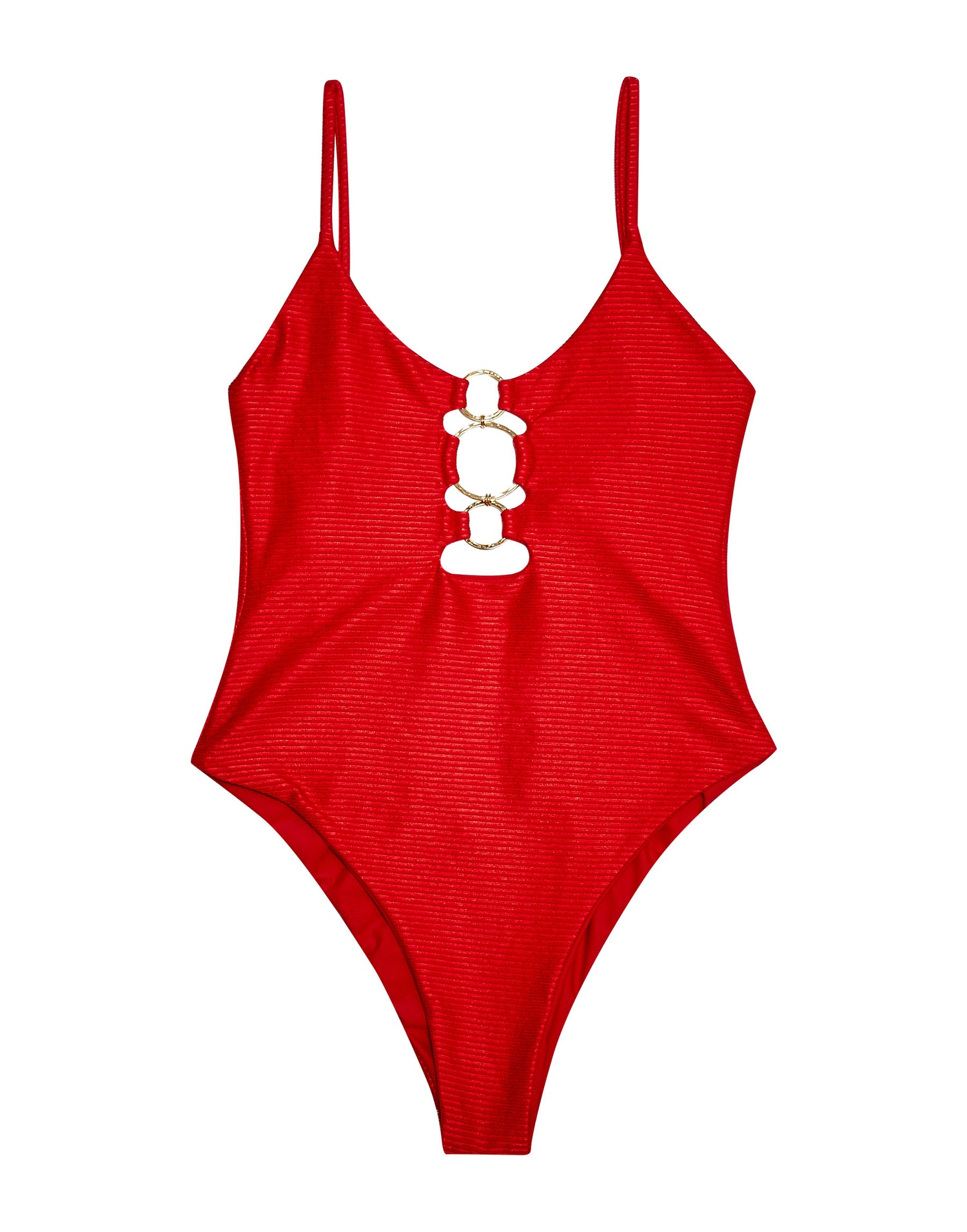 Red Rib Katrina One Piece Swimsuit - Product View