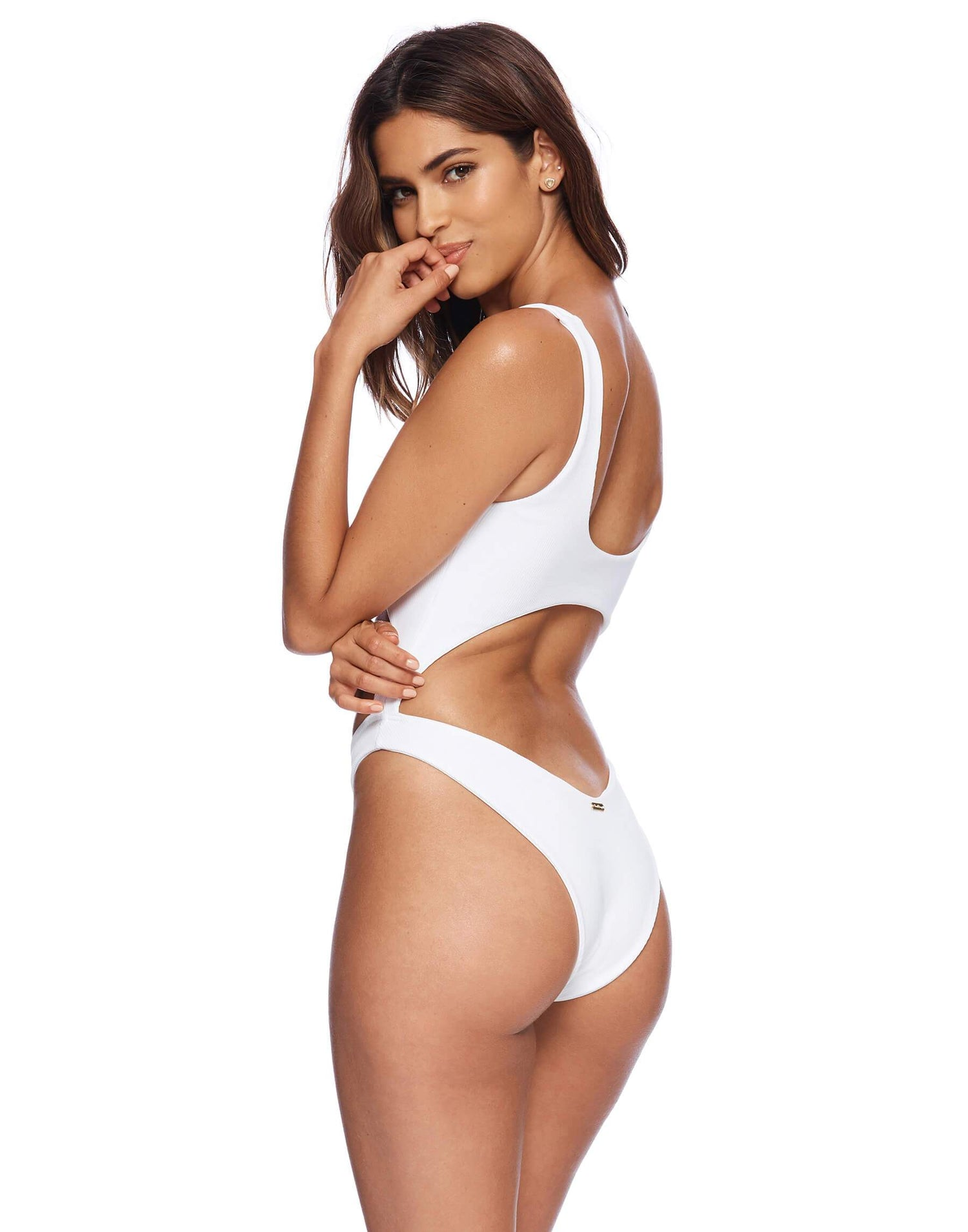 Kelly Monokini in White Rib - back view
