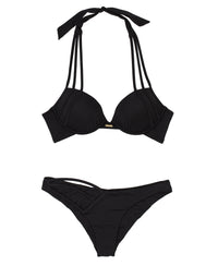Kennedy Push Up Bikini Top in Black - product view