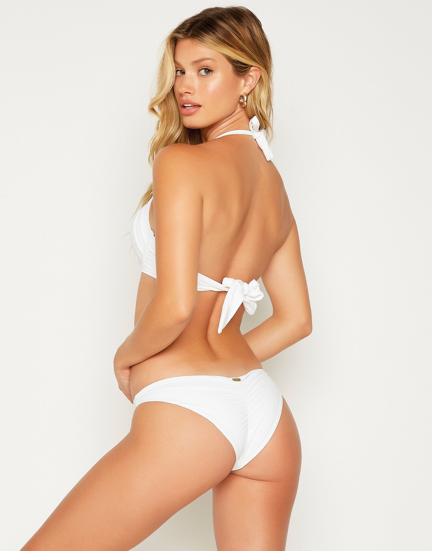 White Angela Skimpy Bikini Bottom - back view