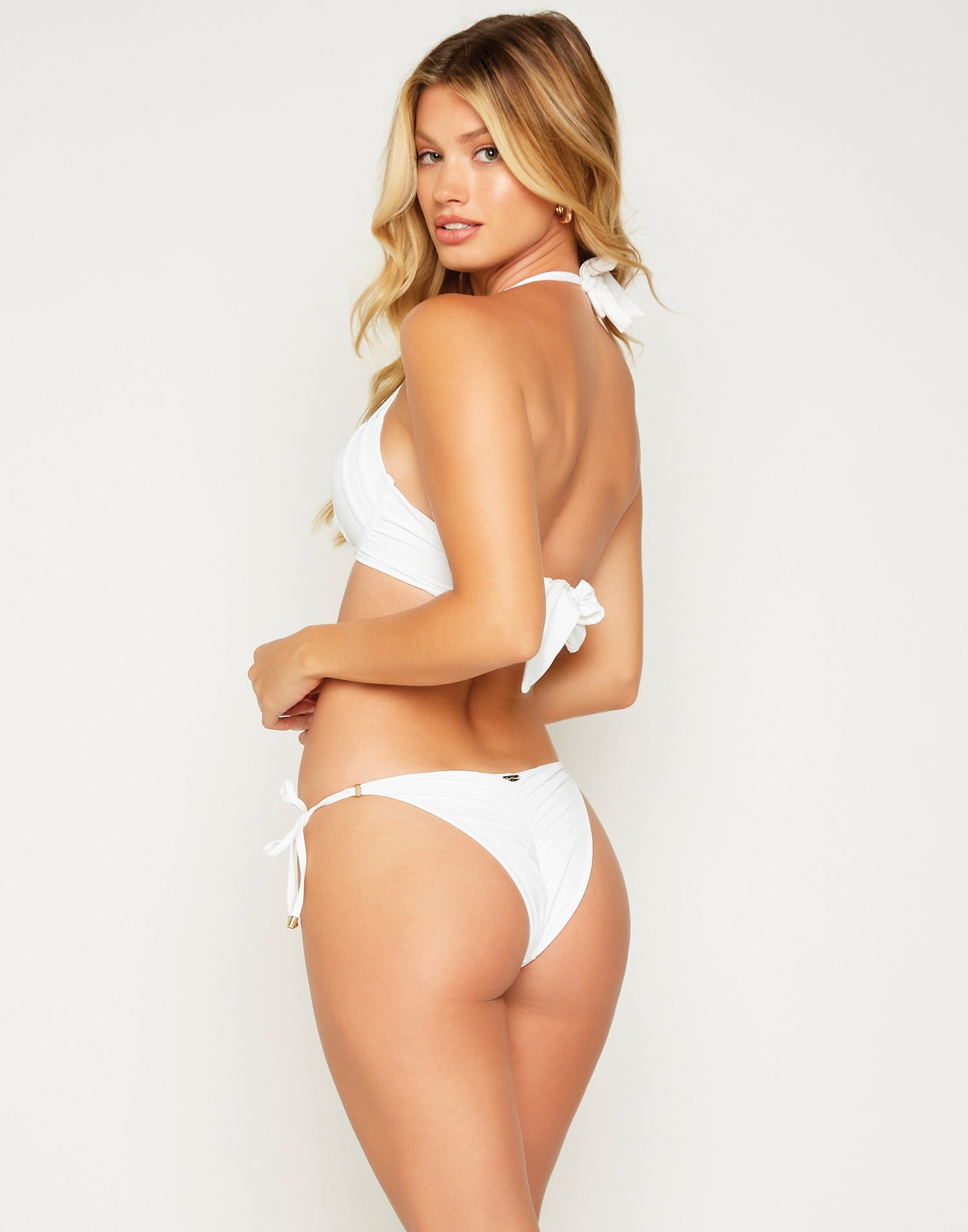 Piper Tie Side Bikini Bottom in White - back view