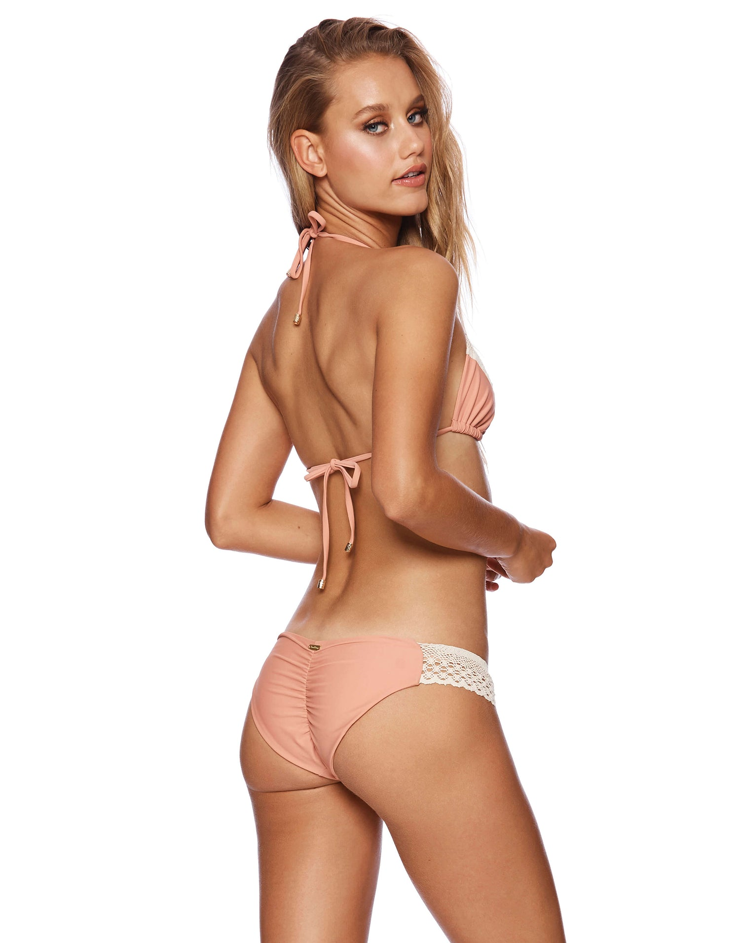 Lady Lace Triangle Bikini Top in Whiskey Rose - back view