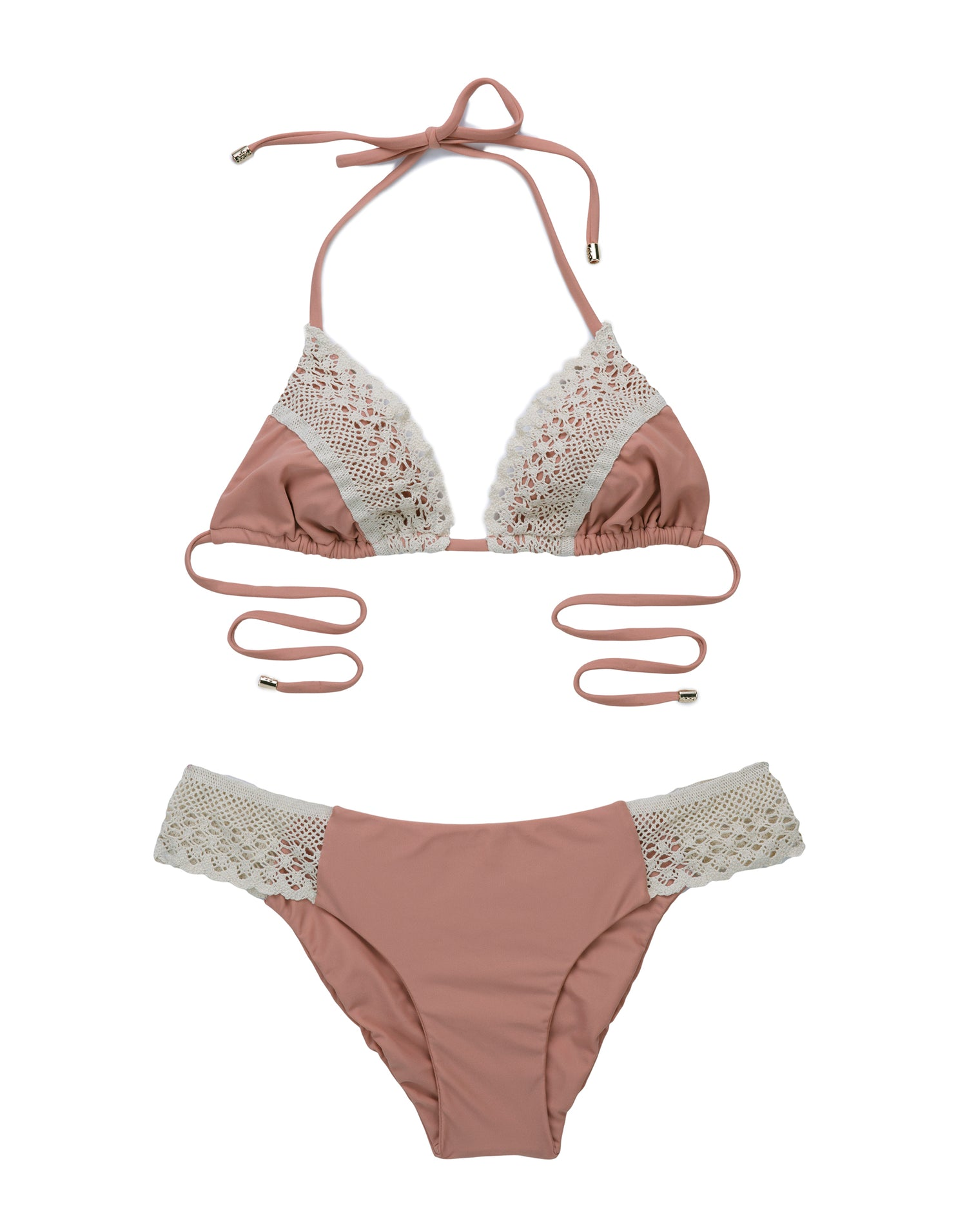 Lady Lace Triangle Bikini Top in Whiskey Rose - product view