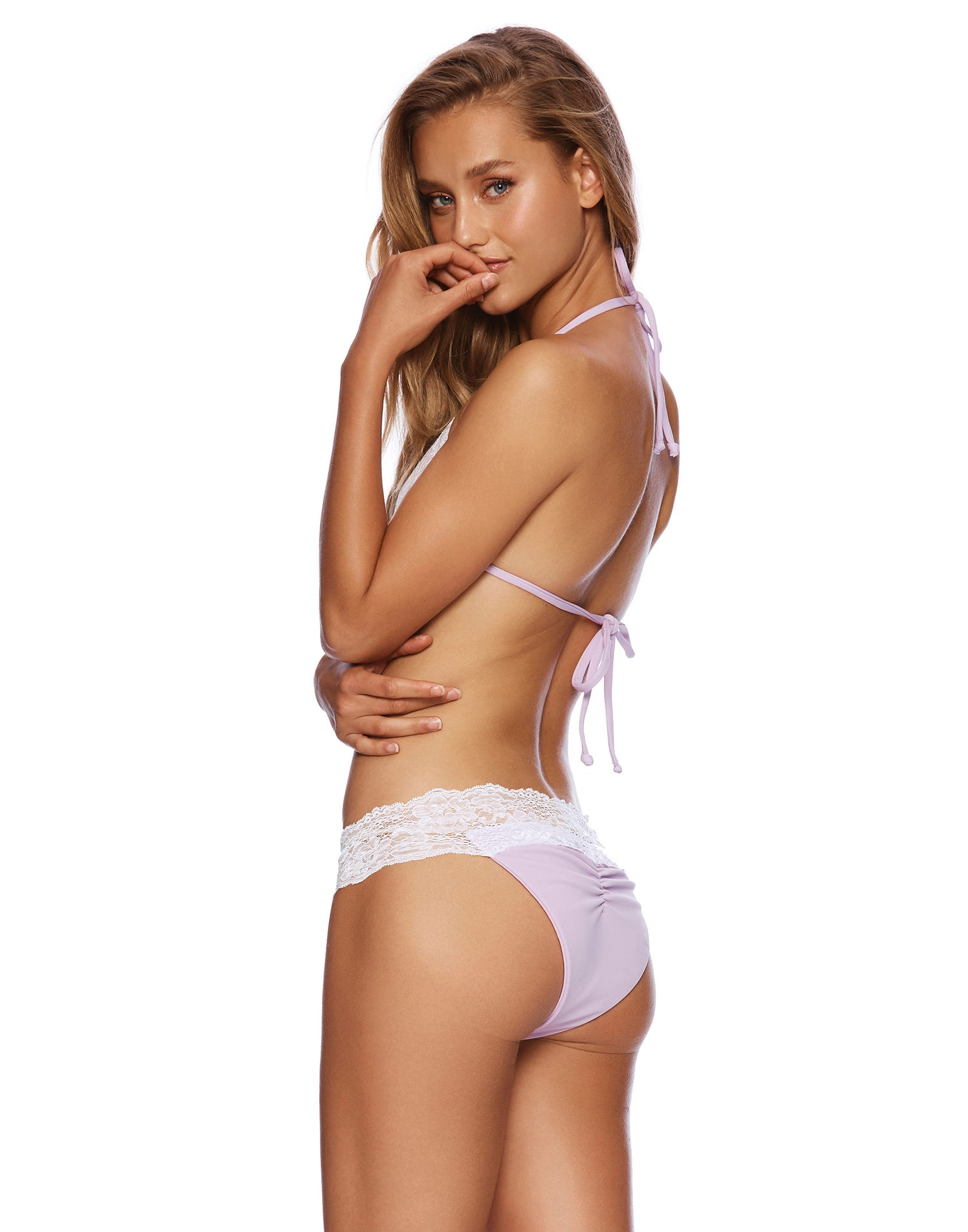 Lady Lace Skimpy Bikini Bottom in Lavender - side view