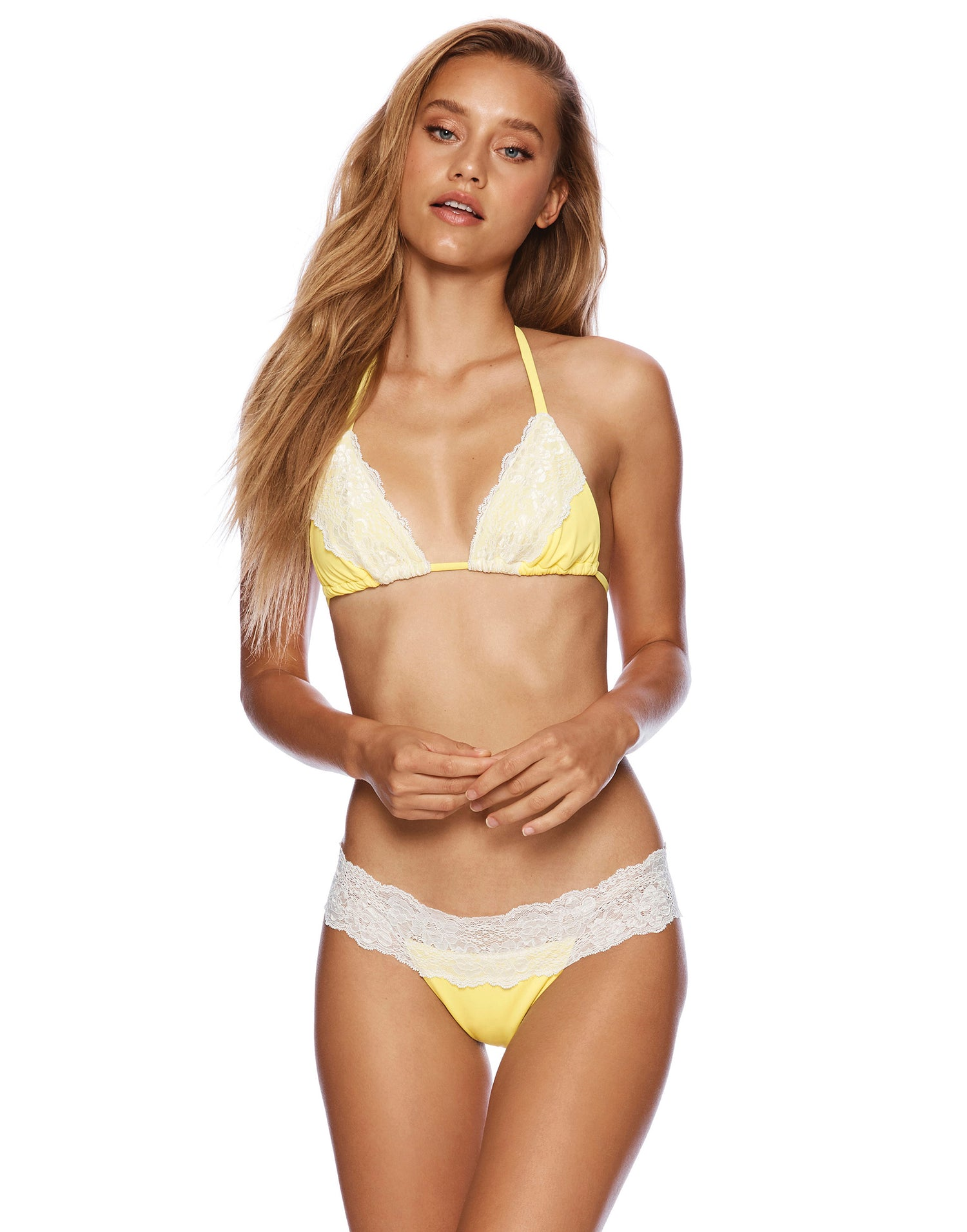 Lady Lace Triangle Bikini Top in Lemon Yellow - front view