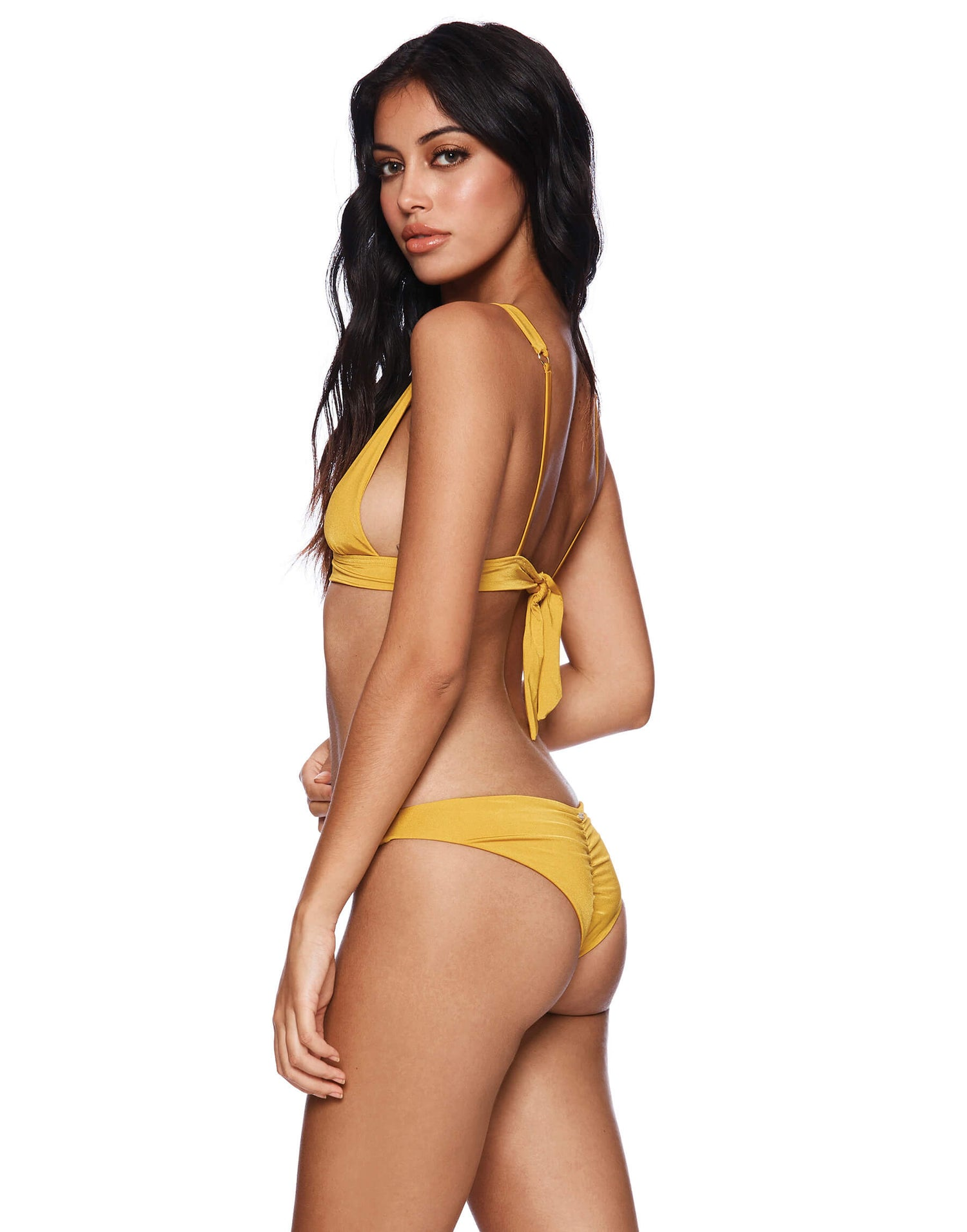 Yellow Angela Skimpy Bikini Bottom - back view