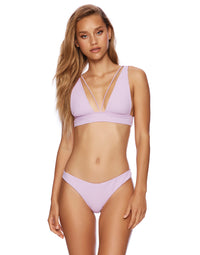 Larson High Apex Bikini Top in Lavender Rib - front view