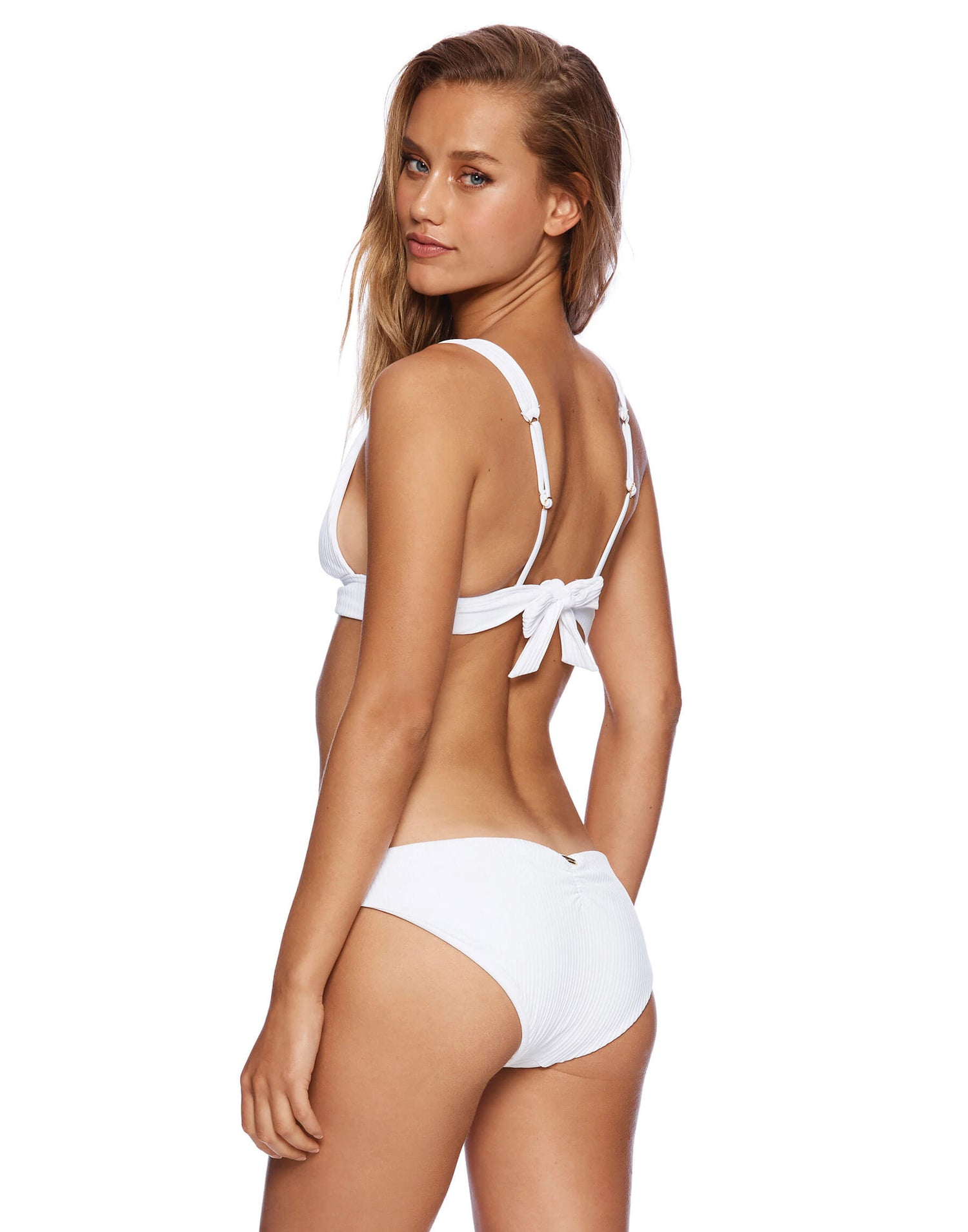 Stephanie Midi Bikini Bottom in White Rib - back view
