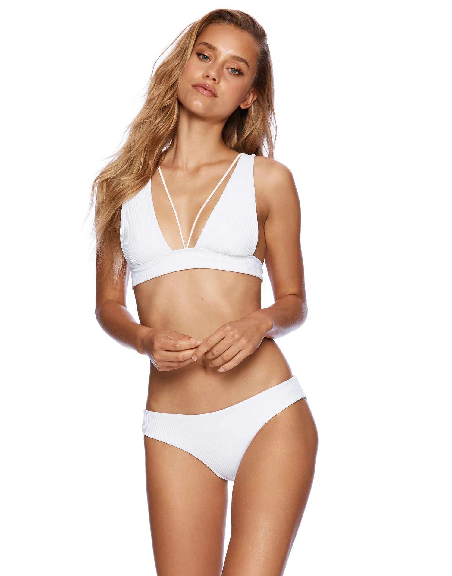 Stephanie Midi Bikini Bottom in White Rib - front view
