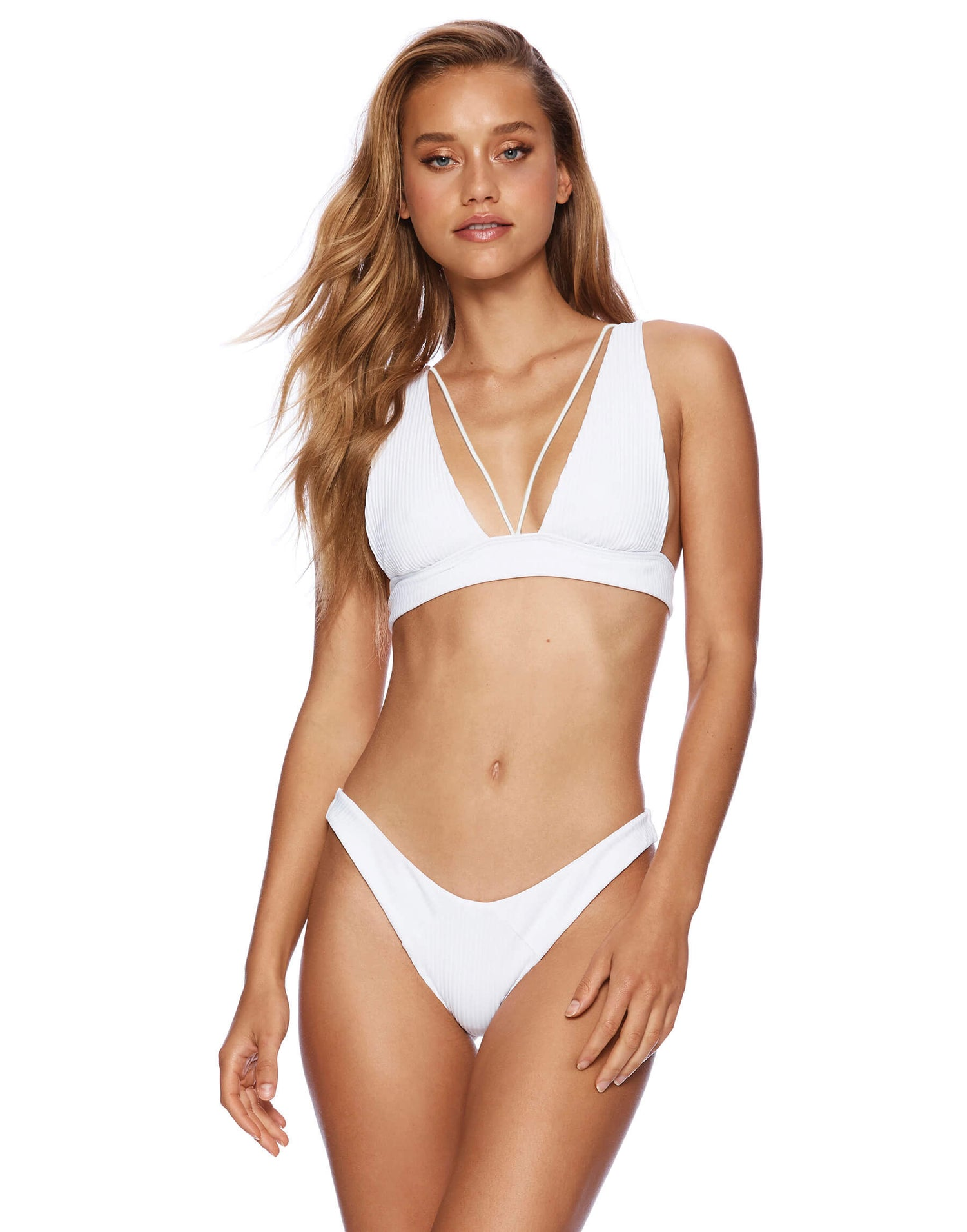 Sydney Brazilian Bikini Bottom in White Rib - front view
