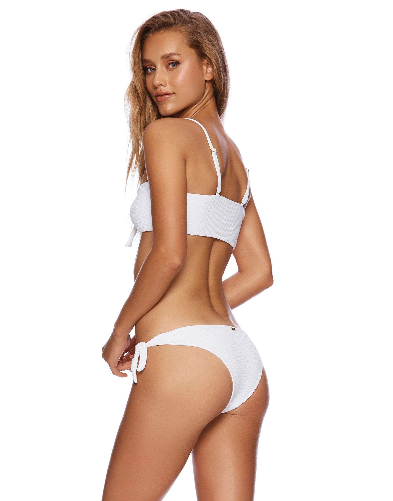 Sutton Tie Side Bikini Bottom in White Waffle Texture - back view