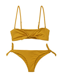 Layla Bandeau Bikini Top in Topaz with Straps - product view